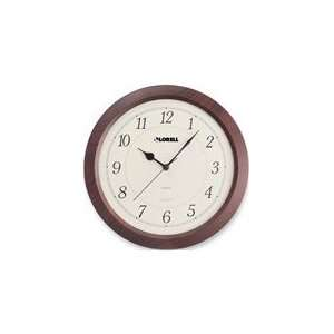 Lorell 13 1/2 Radio Control Wood Wall Clock in Mahogany