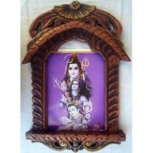 Lord Shiva originating from Lord Bal Krishna poster painting in Wood