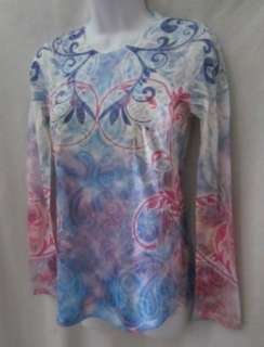 LAURA ASHLEY ACTIVE New Purple Pink Blue White Long Sleeve Shirt Top