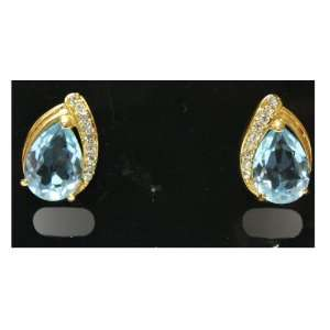Gold Plated Arabian Tear Drop Blue Sapphire Earrings with