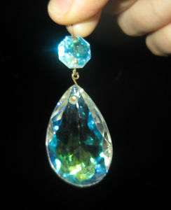 Vintage AB Aurora Borealis glass Crystal Prism Lamp Chandelier Part