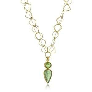 Metaform Green Tourmaline 18k Gold Chain Diamond Pendant Jewelry