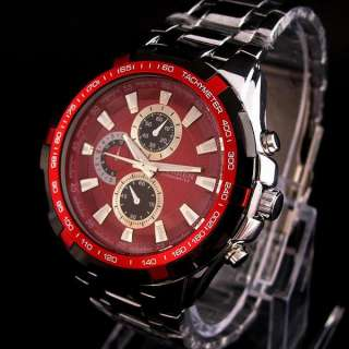 red dial ANALOG SPORT QUARTZ men Stainless Steel wrist watch c23r