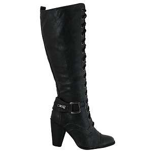 NEW Womens Ladies Leather Style Knee High Lace Up High Heel Biker