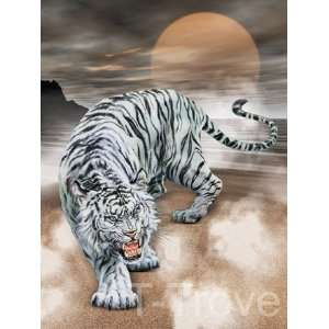 White Tiger Growling Wall Scroll Q20 Home & Kitchen