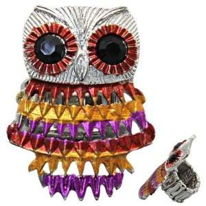 Owl Ring With Bronze, Gold, Purple Metal and Black Crystal Eyes