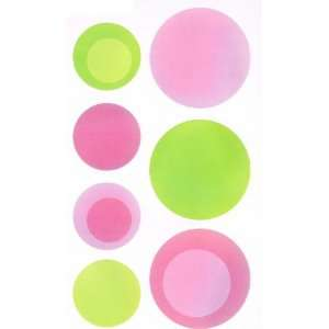 24 Polka Dot Wall Stickers Pink and Lime Green