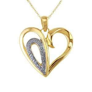 Diamond Yellow Gold Heart Shaped Pendant Jewelry
