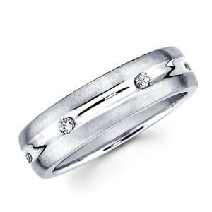 Mens Diamond Wedding Band 14k White Gold Anniversary Ring