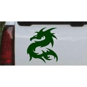 Tribal Dragon Car Window Wall Laptop Decal Sticker    Dark Green 22in