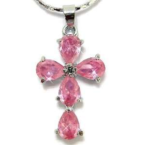 Gorgeous Cross Cut Sterling Silver Simulated Pink Sapphire Pendant