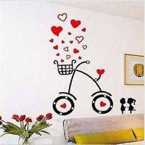 Heart Kiss Lover Bike removable Vinyl Mural Art Wall Sticker Decal