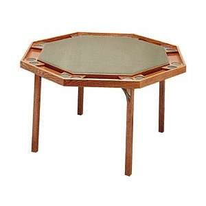 Octagon Poker Table with Ranch Oak Finish & Green Vinyl Top