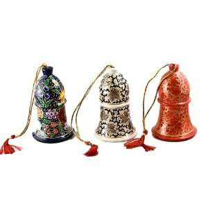 Christmas Tree Ornaments, 3 Sparkling Bell Ornaments, Papier Mache