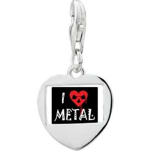 Sterling Silver Gold Plated Music I Love Metal Photo Heart Frame Charm