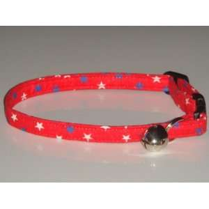Cat Kitten Pet Collar   USA Red White Blue Stars Patriotic 4th of July