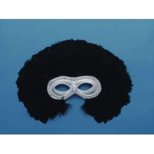 Masquerade Ball Silver Lame Feathered Half Mask Costume Toys & Games