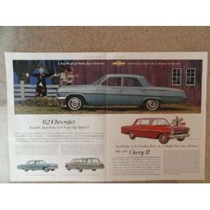 1962 Chevrolet Bel Air 4 door, Vintage 60s 2 full pages center fold