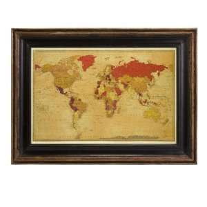 Vintage World Map Reproduction in Rustic Wooden Frame 18 x 24