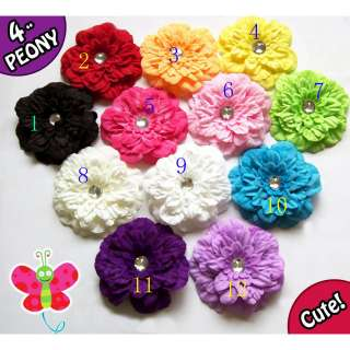 12pcs lots Lady Girls Baby Peony Flower Hcrochet GIRL Baby Crystal