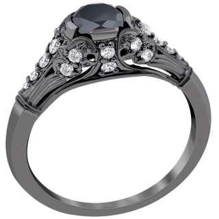 15 Carat Black Diamond Engagement Ring Vintage Style 14K Black Gold