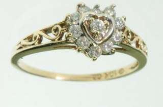 LADIE 10K SOLID YELLOW GOLD CUBIC ZIRCONIA HEART ANNIVERSARY ESTATE