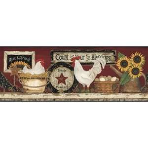 & Crafts 3 HEN AND ROOSTER Wallpaper Border CB5538BD