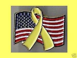 American Flag with Yellow Ribbon Patriotic Pin St