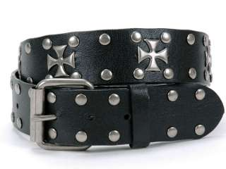 Antique Silver Iron Cross and Circle Studded Black Belt