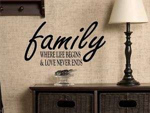 Family Life Quote Vinyl Wall Decal Art Lettering