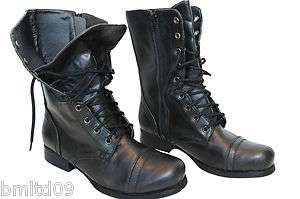 Ladies New Combat Miltiary Army Worker Lace Zip Womens Ankle Boot