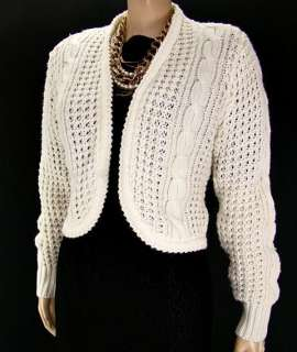 VTG 70s Short Cropped Chunky Cable Cardigan White Sweater S/M