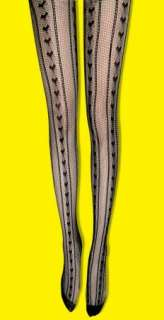 Lace Pattern Heart Fishnet Tights Pantyhose y43 black