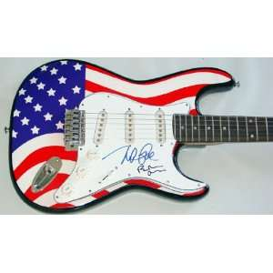 Beach Boys Autographed Signed USA Flag Guitar & Proof