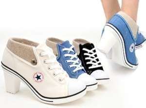 Women High Heels Sneakers White/Blue/Black US 6 8