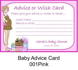 BABY SHOWER Advice Wish Cards Caucasian Pregnant Mom