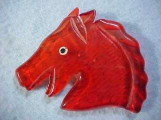 Beautiful Vintage Large Red Bakelite Horse Head Pin Brooch