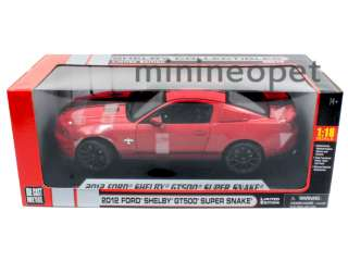 COLLECTIBLES 2012 FORD SHELBY MUSTANG GT500 SUPER SNAKE 1/18 RED w