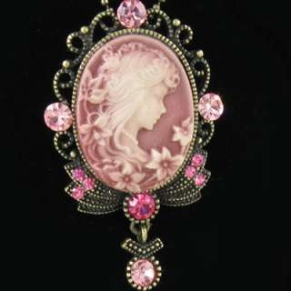 ANTIQUE STYLE PINK CAMEO CRYSTALS PENDANT NECKLACE N254