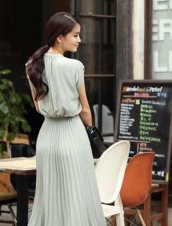 Women Princess Round Neck Boho Pleated Lace Chiffon Maxi long casual
