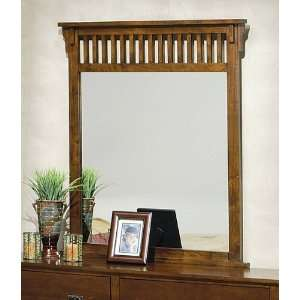Style Dark Brown Finish Solid Hardwood Framed Mirror