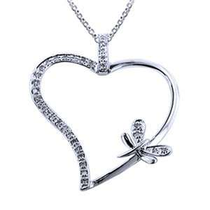 Diamond, 14k White Gold, Heart & Firefly Pendant with Chain Jewelry
