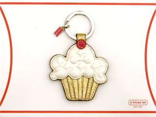 COACH OP ART Cupcake Patent White Gold Metallic Leather KEY FOB KEYFOB