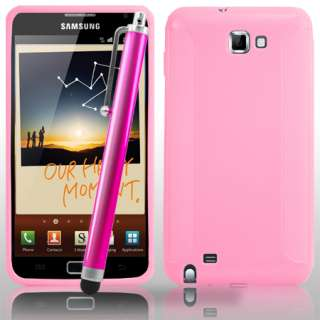 Pink Gel Case For Samsung Galaxy Note i9220 + Stylus & Screen Protect