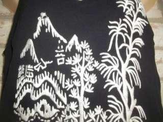 Black White Embroidered Silk SUE WONG Pixie Hem Evening Dress 10