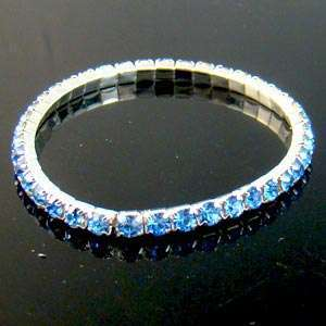 Row Bridal Gemstone Pearl Crystal Bead Elastic Bangle Bracelet Costume