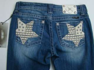 Womens True Blue Star Boot Cut Rhinestone Jeans 30 x 33 JP6042B