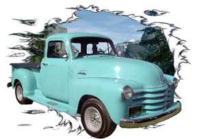 1954 Blue Chevy Pickup Truck Hot Rod Mt T Shirt 54