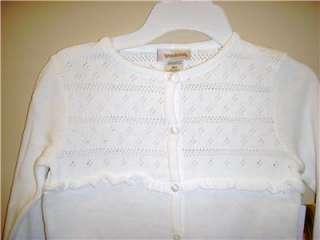 Girls White Dressy Button Cardigan Sweater Cotton