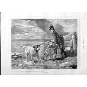 1875 LITTLE GIRL LADY DOG SEA BEACH ANTIQUE FINE ART Home & Kitchen